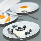 Panna Cotta with Blueberries, close_up