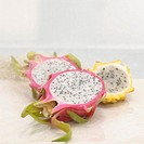 Pitahayas halved dragon fruit close_up