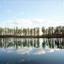 Finland, Hossa National Park, reflections in lake