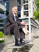 Germany, Baden_Württemberg, Stuttgart, businessman taking a break