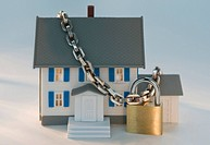 Model house locked with chain