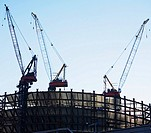 Cranes on construction site, New York City, New York, United States