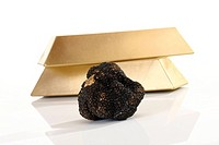 Black Truffle and gold bars, close_up