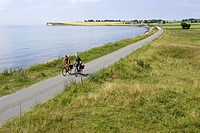 Denmark, Mountainbikers riding across coastal path