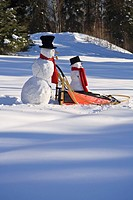 Large pushes small snowman on dog sled in deep snow in afternoon Fairbanks Alaska winter