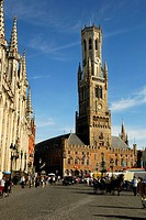 Belfort, Gothic town hall, Grote market, Bruges, Flanders, Belgium