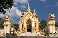Golden dragons, western entrance, Shwedagon Pagoda, Yangon, Burma, Myanmar, Rangoon