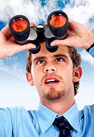 business man searching with binoculars