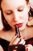 hübsche Frau mit Lippenstift