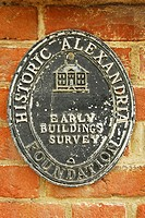 Historic Alexandria Foundation Early Buildings Survey metal sign on brick home, Old Town, Alexandria, Virginia, USA