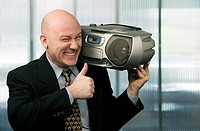 Businessman with Boom Box