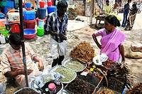 AN INDIAN SCENE Vendor of species, picture taken in the district of Allapuzha or Allepey, in the state of Kerala in India.