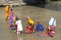 Holy river Bagmati in Pashupatinath, holy city of hinduism in the valley of Kathmandu. It is here that ablutions and cremations of hinduists pilgrims ...