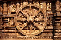 Wheel of Sun temple of Konarak World Heritage monument , Konarak , Orissa , India