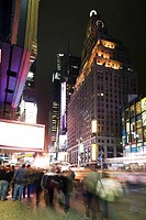 Nightlife scene on Broadway near Times Square in New York City