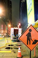 City workmen taking break from work on W 42nd Street near Times Square, New York City (thumbnail)