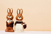 Pair of cute chocolate Easter bunnies