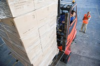 Forklift carrying cargo
