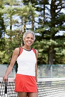Woman on tennis court