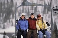 Friends on ski lift