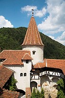 Turret above courtyard, Bran Castle, Bran, near Brasov, Transylvania, Romania