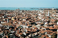 View of Venetian buildings from the Campanile, Venice, Italy
