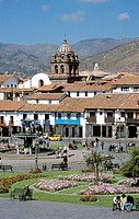Looking across Plaza de Armas to Iglesia de la Merced, Cusco, Peru