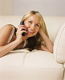 Woman talking on phone and smiling