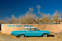 USA, New Mexico, Turquoise Trail, Trading Post and 1961 Chevrolet Bel Air 4_door sedan