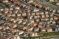 Aerial view of suburban community in California