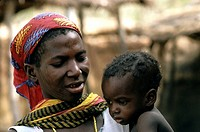 Burkina Faso, Gurma country, woman and her baby