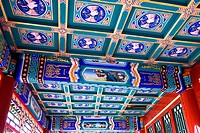 China, Beijing, Forbidden City, covered corridor, decorated ceiling
