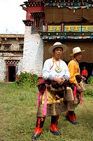 China, Sichuan, near Danba, Tibetan village festival, men in traditional costume