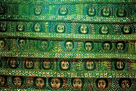 Ethiopia, Gondar, Debre Birhan Selassie church, fresco on ceiling, cherubs