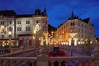 Ljubljana, Triple Bridge, Ljubljanica river, Slovenia