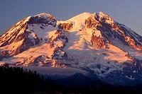Mt Rainier from Glacier View Trailhead area, Glacier View Wilderness, Gifford Pinchot National Forest, Washington, USA