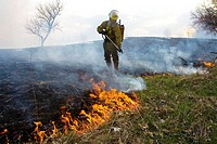 Conservation worker managing prescribed burn, Michigan, USA