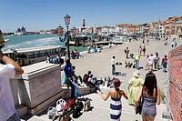Beach promenade on the Canale di San Marco in the direction of Piazza San Marco Square, Venice, Veneto, Italy, Europe