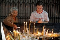 Brazil  Aparecida Basilica  Pilgrims lighting candles