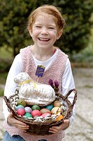 Girl, child holding easter basket