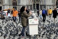 Sales booth for pigeon food, St. Mark's Square, Venice, Veneto, Italy, Europe