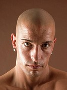 Bald-headed man, face, serious