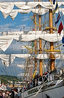 ARM Cuauhtemoc sail training vessel of the Mexican Navy, Rouen. Normandy, France (L'Armada 2008 sailing event)
