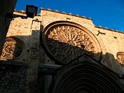 Rose window of the main front, monastery of Sant Cugat del Valles. Barcelona province, Catalonia, Spain