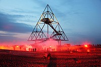 Additional shift, long night of industrial culture, volcano expedition theme, on the Tetraeder, waste-dump in Bottrop, North Rhine-Westphalia, Germany...