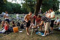 Students barbecuing in the park beside Aasee Lake, Muenster, North Rhine-Westphalia, Germany, Europe