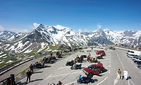 Mountain panorama behind the carpark on Mt Edelweiss-Spitze, Grossglockner High Alpine Mountain Road, Hohe Tauern National Park, Salzburg, Austria, Eu...
