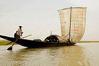 Mali. Sahel. River Niger. Traditional boat. River transport