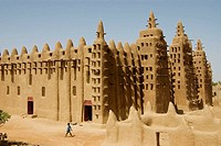 Mali. Sahel. Great mosque of Djenne ( XI century ). Sudanese Architecture style. Built in adobe. UNESCO world Heritage Site.