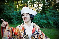 Close up of Japanese bride wearing traditional clothing